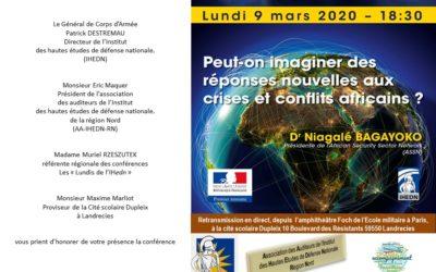 Prochaine conférence des Lundis de l'IHEDN, organisée par la cité scolaire Dupleix : lundi 9 mars