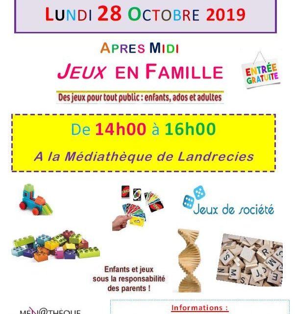 Après-midi Jeux en Famille à la médiathèque pour petits et grands (entrée gratuite)