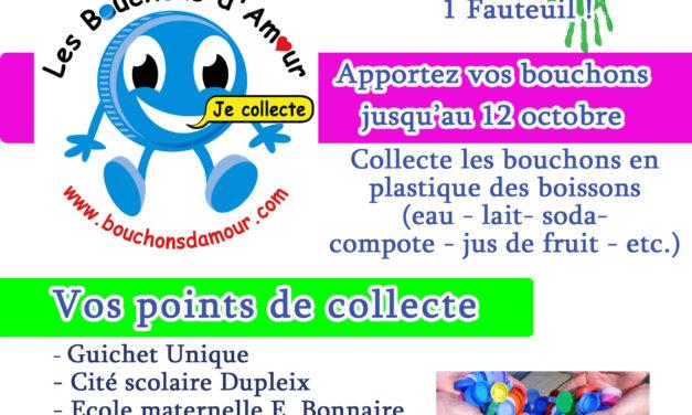 Collecte de bouchons en plastique à usage alimentaire jusqu'au 12 octobre
