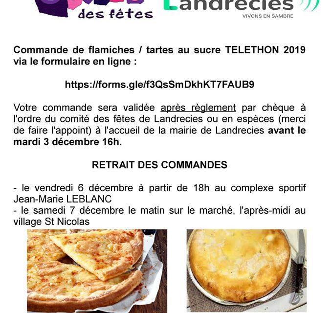 Commande en ligne de flamiches et tartes au sucre au profit du Téléthon 2019