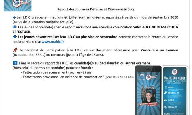 Report des Journées Défense et Citoyenne (organisées en mai, juin, juillet 2020)